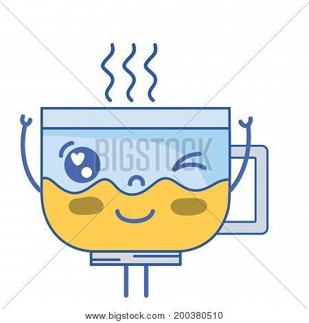 kawaii cute funny coffee cup vector illustration