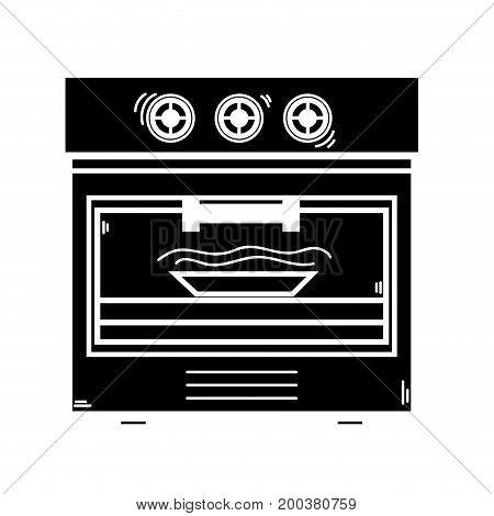 contour technology oven electric kitchen utensil vector illustration