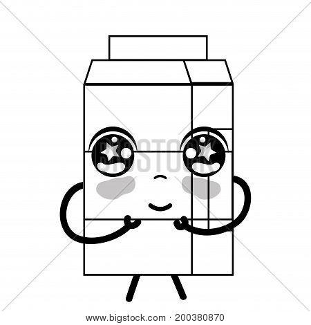 line kawaii cute tender milk box vector illustration