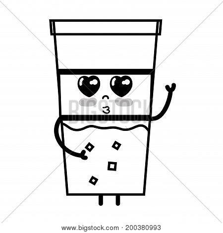 line kawaii cute tender drink beverage vector illustration