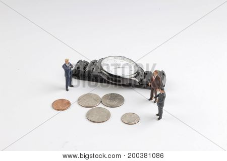 Mini Figure Stack Of Coins And Watch