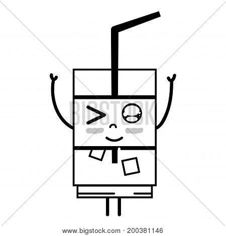 line kawaii cute funny drink beverage vector illustration
