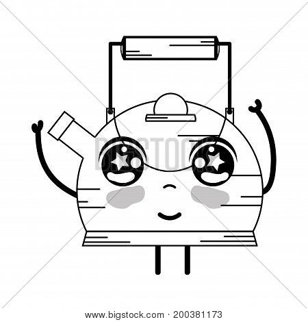 line kawaii cute happy teapot utensil vector illustration