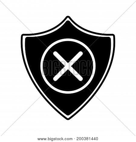contour security shield to technology protection icon vector illustration