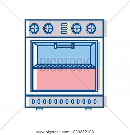 technology oven electric kitchen utensil vector illustration
