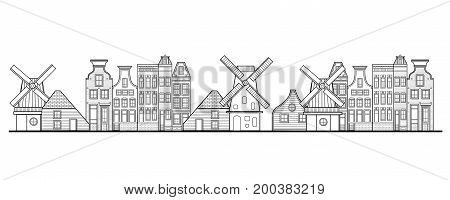 Amsterdam houses windmill and city style Netherlands panorama