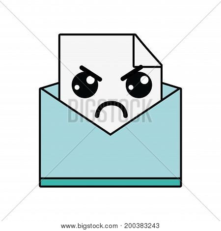 kawaii cute angry file message vector illustration