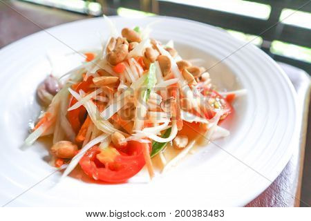 papaya salad spicy salad or Som Tan in Thai food