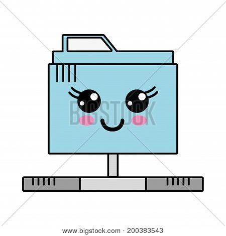 kawaii cute happy file information vector illustration