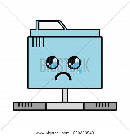 kawaii cute crying file information vector illustration