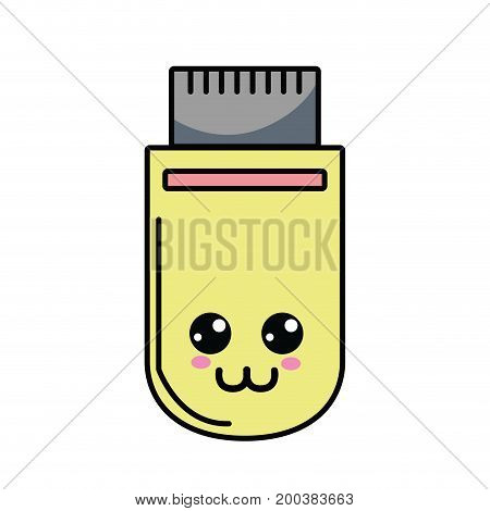kawaii cute happy usb memory vector illustration