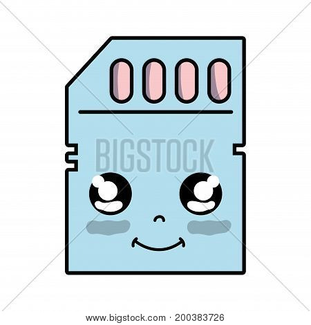 kawaii cute happy micro sd vector illustration