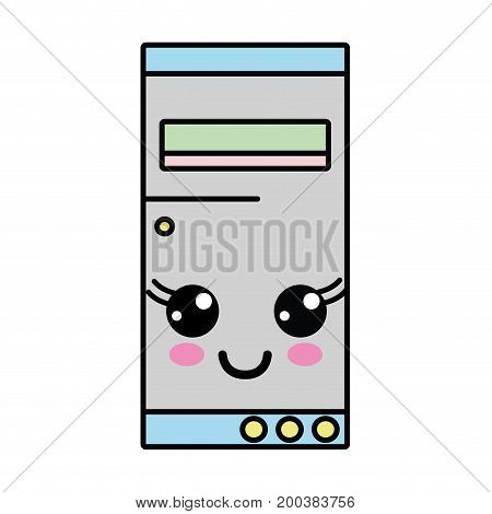 kawaii cute happy hard drive vector illustration