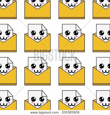 kawaii cute happy file message background vector illustration