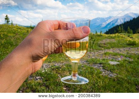 Toasting champagne on a mountain top Kananaskis Country Alberta Canada