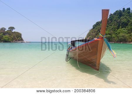 Traditional thai longtail boat at Andaman sea