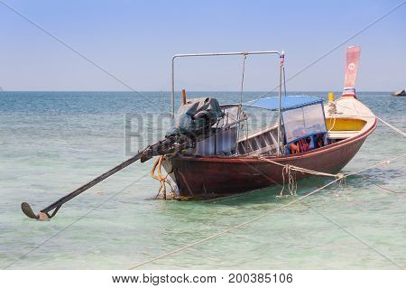 Traditional thai longtail boat at Krabi sea