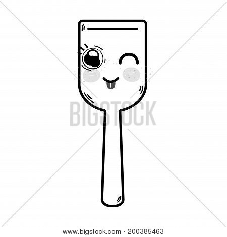line kawaii cute funny kitchen utensil vector illustration