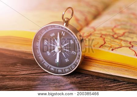 Map With Compass. Simple Navigation Tools To Orient In The World.