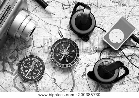 Player And Compass On The Area Map, A Set Of Traveler