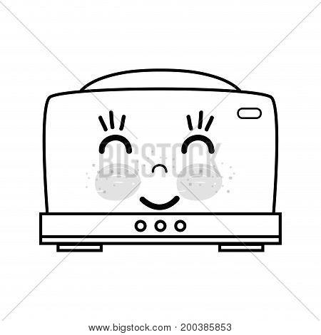 line kawaii cute happy toaster technology vector illustration