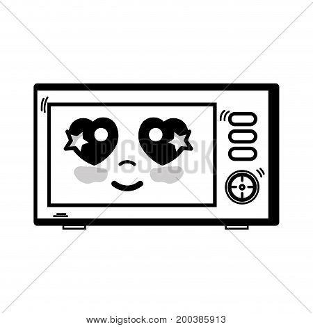 line kawaii cute happy microwaves technology vector illustration
