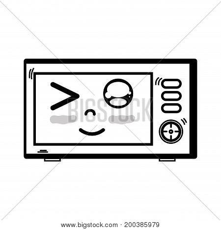 line kawaii cute funny microwaves technology vector illustration