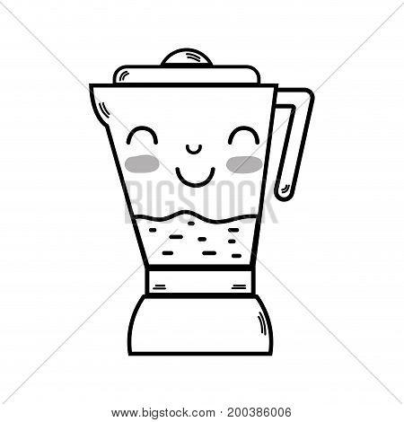 line kawaii cute happy blender technology vector illustration