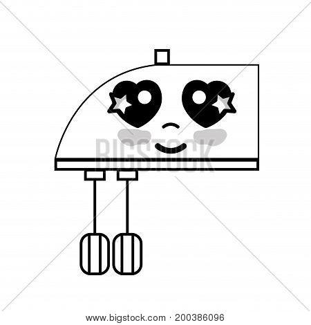 line kawaii cute happy mixer technology vector illustration