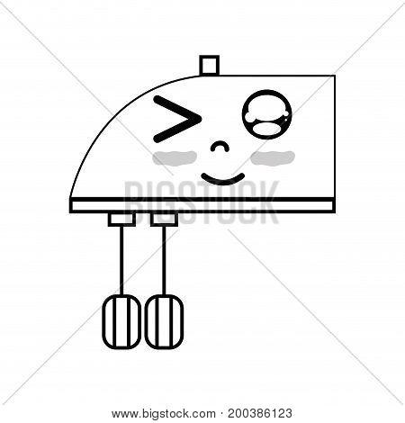 line kawaii cute funny mixer technology vector illustration