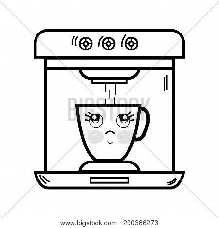 line kawaii cute thinking coffee maker technology vector illustration