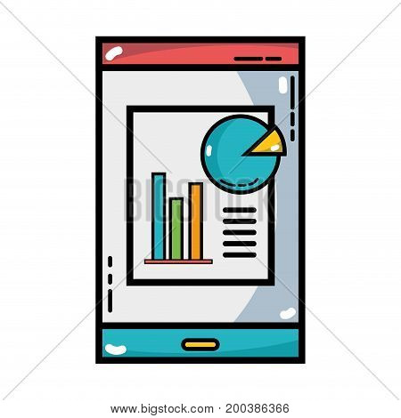 smartphone with company document and statistics bar diagram vector illustration