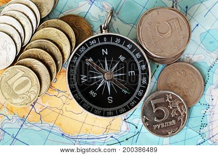 Compass And Money On The Map,a Set Of Traveler