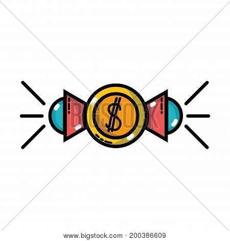 marketing with megaphones and coins strategy business vector illustration