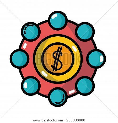 marketing with coin strategy company symbol vector illustration
