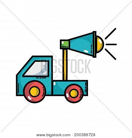 trunk with megaphone to company strategy business vector illustration