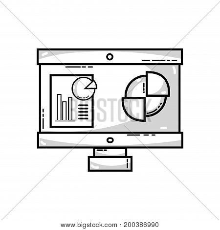 line computer with company document and statistics diagram vector illustration,