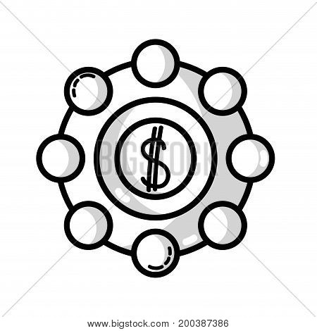 line marketing with coin strategy company symbol vector illustration