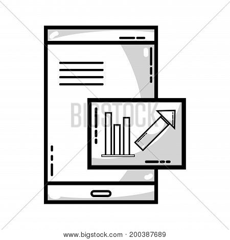 line, smartphone with company document and statistics bar diagram vector illustration