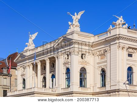 Zurich, Switzerland - 20 July, 2016: partial view of the Zurich Opera House building. Zurich Opera House (German: Opernhaus Zurich) has been the home of the Zurich Opera since 1891, it also houses the Bernhard-Theater Zurich and the Zurich Ballet.