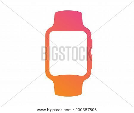 Vector Gradient Pink To Orange Flat Smart Watch Icon