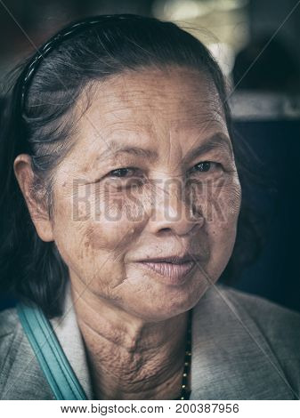 Close Up Old Thai Woman Portrait