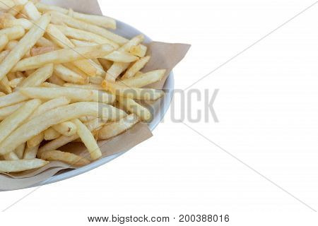 Homemade french fries potatoes isolated on white background