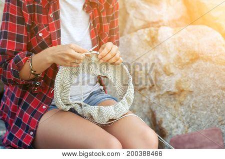 Close-up Woman  Knitting