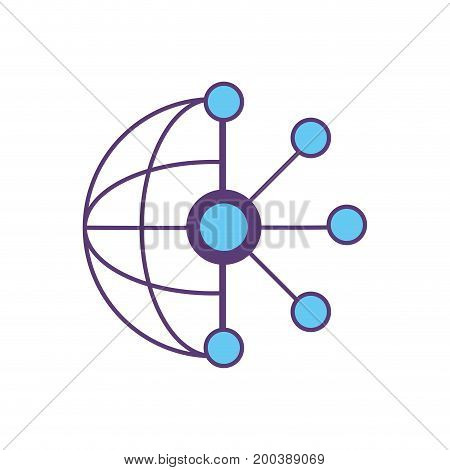 circuit global data technology to center server vector illustration