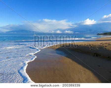Tranquil Morning Walk - Kaanapali Beach, Lahaina, Maui, Hawaii.