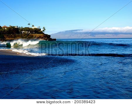Surf at Black Rock - Tranquil Morning Walk at Kaanapali Beach, Lahaina, Maui, Hawaii.