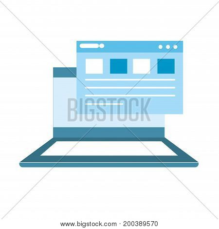 laptop with business virtual document information vector illustration
