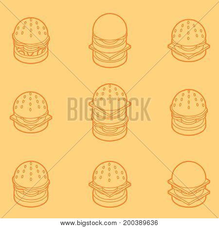 Burgers color outline isometric icons. Fast food design icons set.