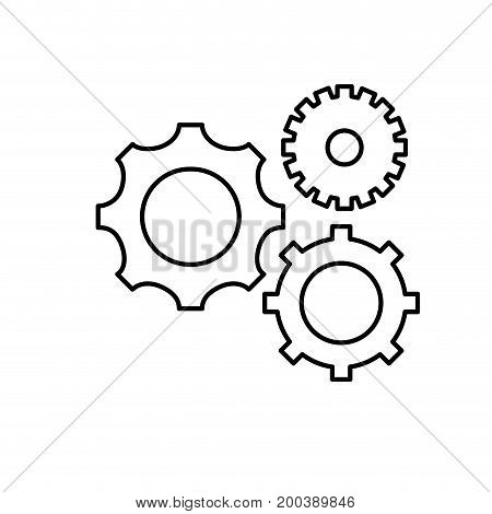 line gears engineering industry process technology vector illustration